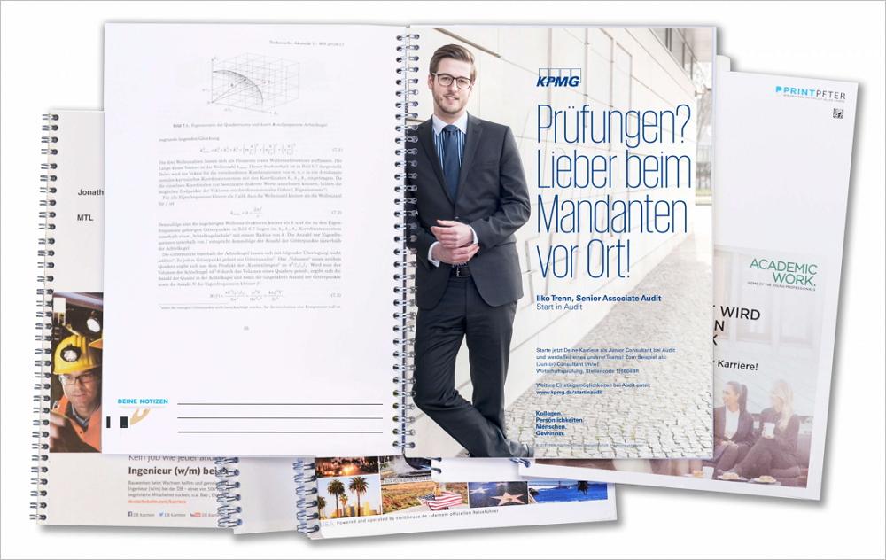 Gezieltes Employer Branding bei Studenten durch Werbung in Skripten. Bild: PrintPeter