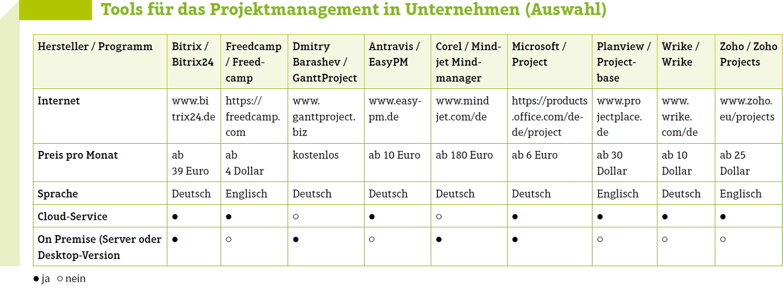 Tools für das Projektmanagement in Unternehmen. Grafik: com!Professional