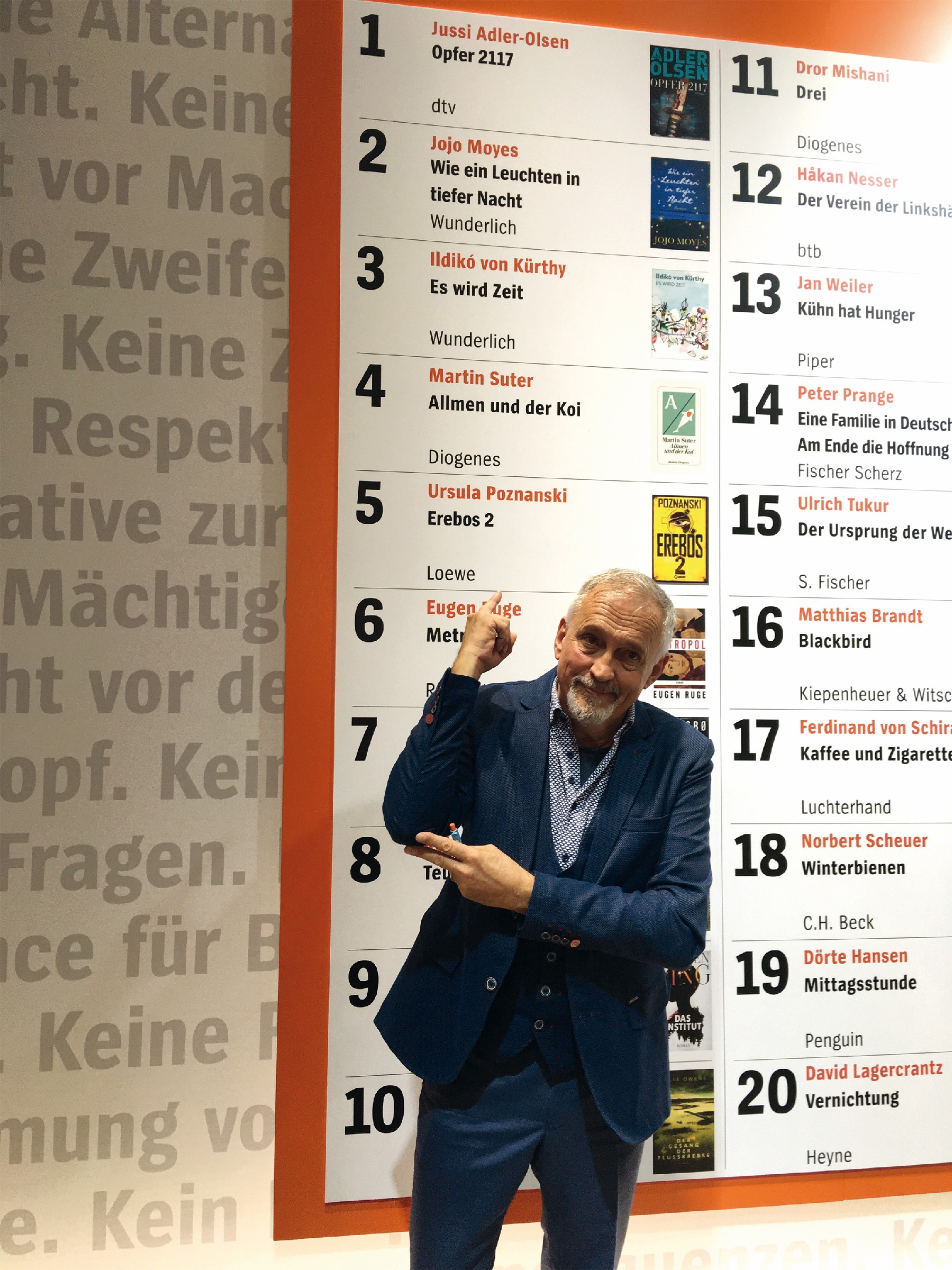 Bestseller: dtv-Autor Jussi Adler-Olsen stand in der Buchmesse-Woche auf Platz 1 der Bestsellerliste und posierte am SPIEGEL-Stand. (Foto: buchreport/TW)