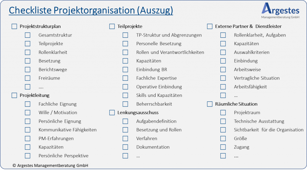 "Grafik ""Checkliste Projektorganisation"""