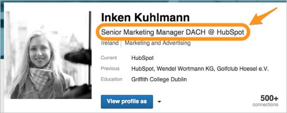 Abb.7: Linkedin-Profilslogan.