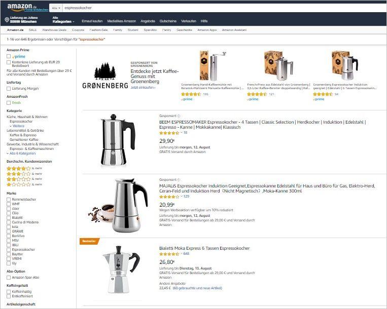 Abbildung 4: Oben die Sponsored Brand, unten die Sponsored Product-Kampagnen