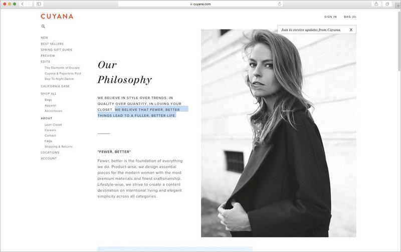 """""""Über uns""""-Seite auf der Website von Cuyana."""