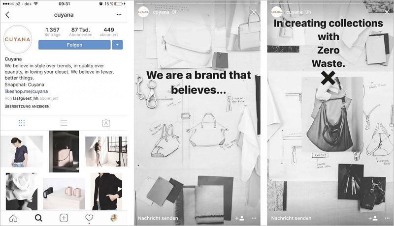 Instagram-Profil-Ansicht sowie Auszüge einer Instagram Story.