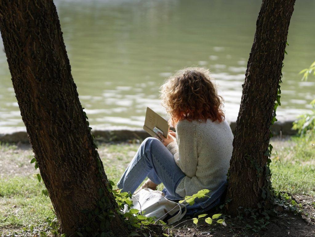 Mädchen liest Buch zwischen Bäumen