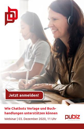 pubiz Webinar: Wie Chatbots Verlage und Buchhandlungen unterstützen können