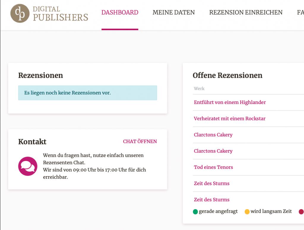 So sieht das neue Rezensentenportal von Digital Publishers aus