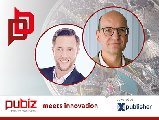 "Ehrhardt F. Heinold trifft Philipp Lindinger (Herder) bei ""Pubiz meets Innovation""."