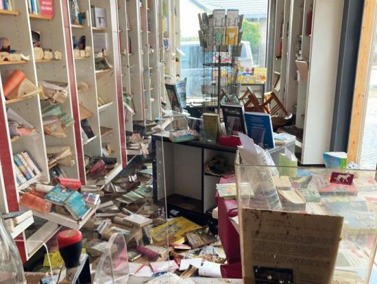 Hochwasser in der Buchhandlung Backhaus (Foto: Buchhandlung Backhaus)